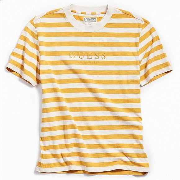 Guess Striped Crew Neck White Navy Yellow T Shirt
